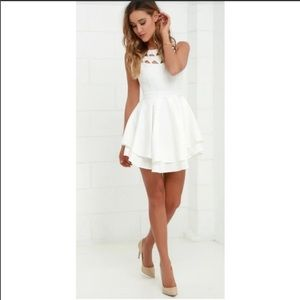 Lulus Flirting with danger ivory cutout dress